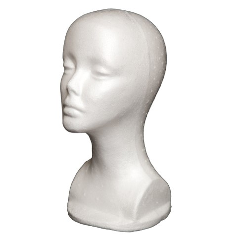 styrofoam wig head, wig head, display head,wig stand,white head, practice mannequin head